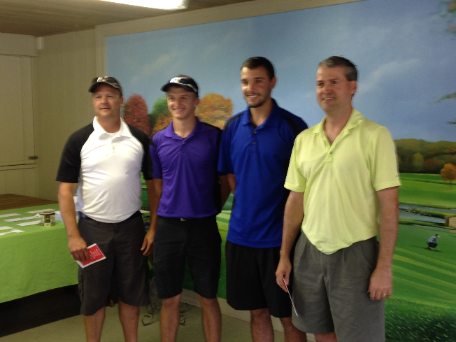 First Place Team, Greg Esh, Ethan Cairns (also longest drive), Derek Pointek and Bob Cairns.
