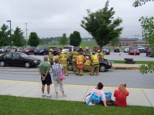Keystone Valley and Cochranville fire/rescue demonstrate removing the roof from a car.